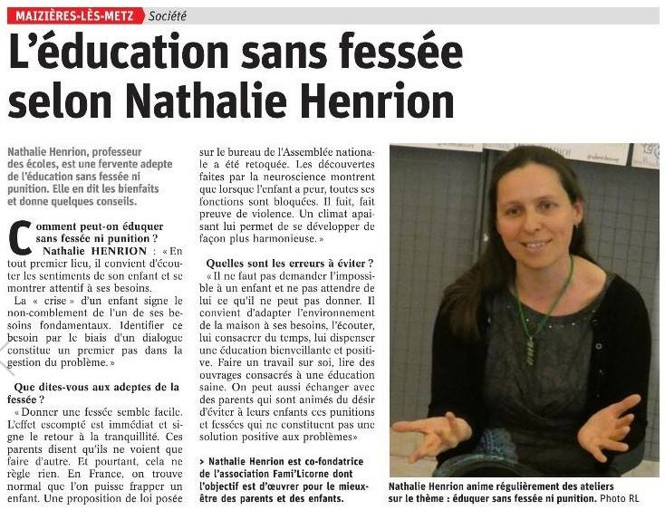 L'éducation sans fessée selon Nathalie Henrion